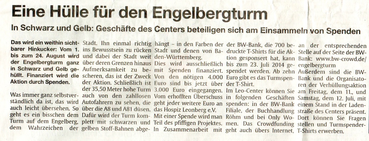 Clipping LeoCenter aktuell 10-7-2014