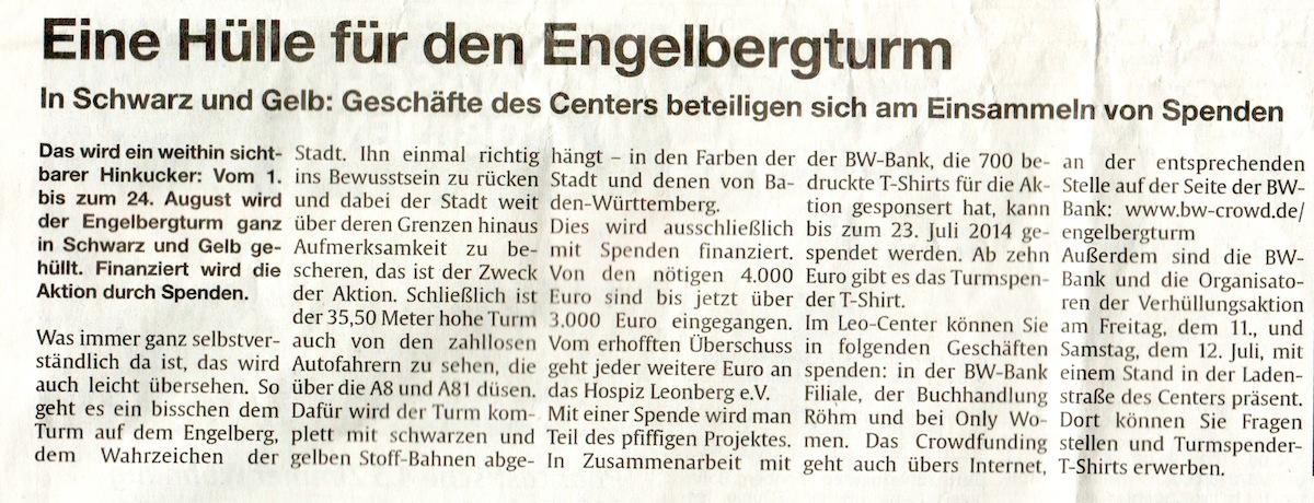 Clipping LeoCenter aktuell 10-7-2014