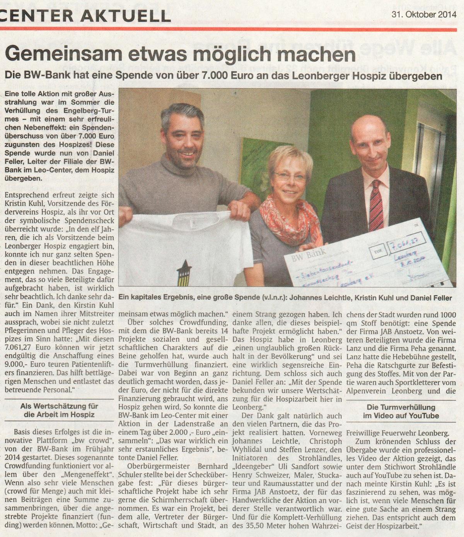 Clipping LeoCenter aktuell 31-10-2014